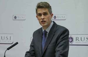 Defence Secretary Gavin Williamson delivered a keynote speech at RUSI. Crown Copyright.