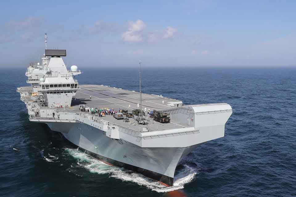 Defence Secretary Gavin Williamson today announced the first operational mission of HMS Queen Elizabeth. Crown Copyright.