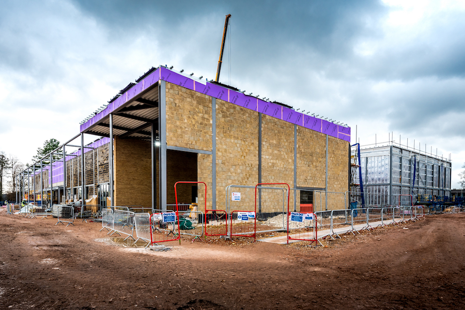 The Band Facility and Drill Shed under construction at Worthy Down.