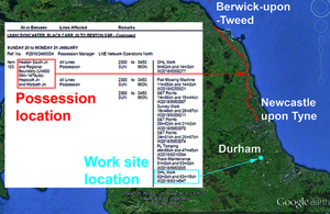 Map and extract from the Weekly Operating Notice showing extent of possession and location of work site