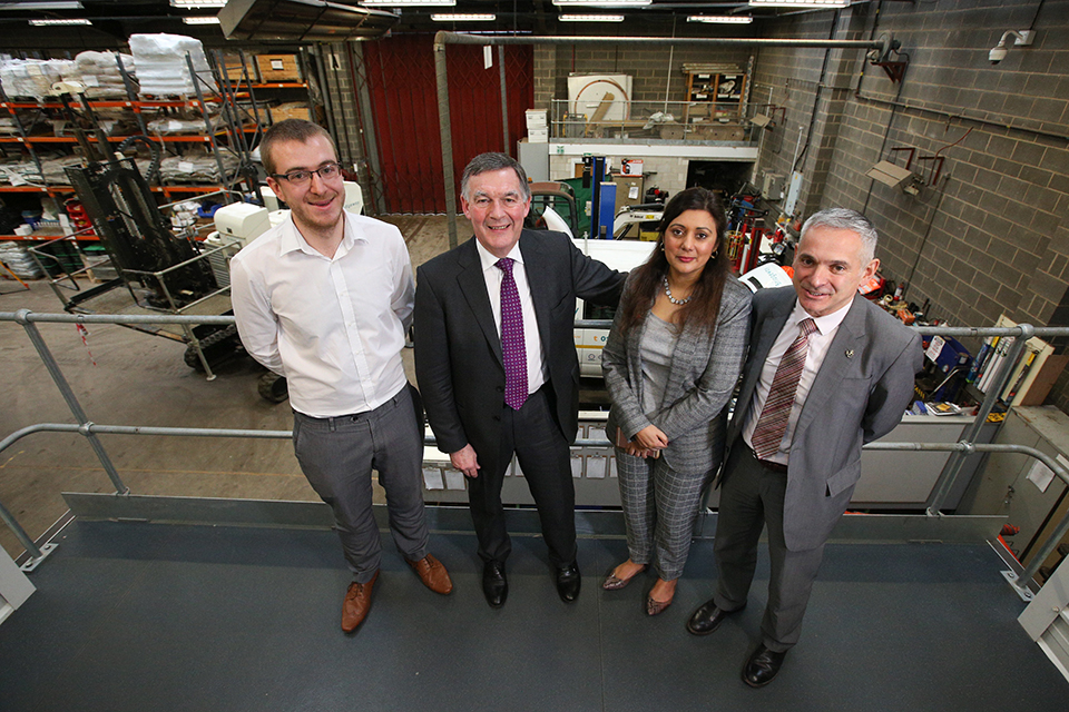 Nusrat, Allan and Pina in the company's Nottingham facility.