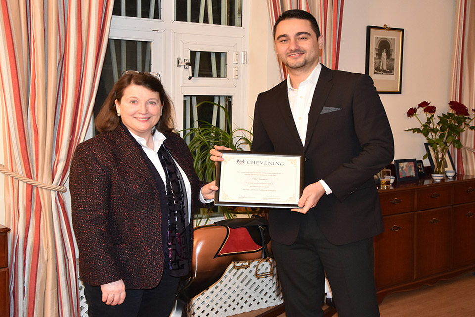 Ambassador presented Eldar with the customary certificate confirming that he had completed his scholarship.