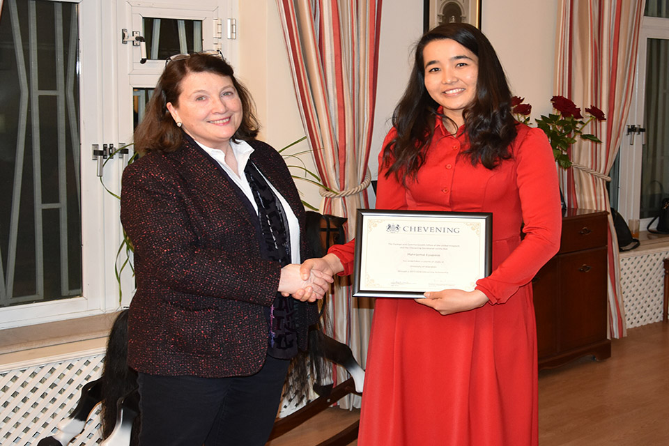 Ambassador presented Mahri with the customary certificate confirming that she had completed her scholarship.