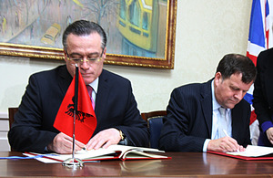 The British Ambassador Nicholas Cannon and the Albanian Minister of Finance Ridvan Bode