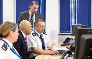 Image of Home Secretary Sajid Javid visiting a police centre preparing for EU exit