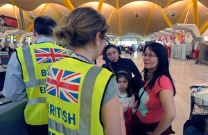 British Embassy staff assisting British people