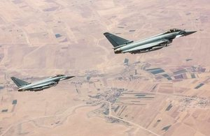 A pair of Royal Air Force Typhoons on Operation Shader, the counter-Daesh mission.