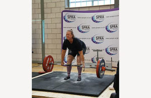 Constable Claire Stott-Barrett in competitive powerlifting