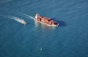 A ship transporting goods in the Indian Ocean