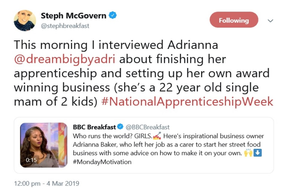 Image of a tweet from BBC's Steph McGovern.