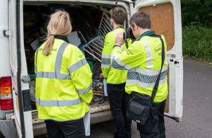 Environment Agency officers inspect Mr Ruszo's van