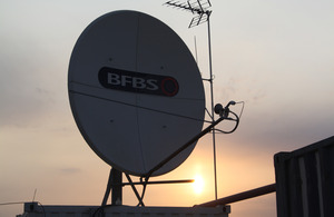 A BFBS satellite dish at Camp Bastion in southern Afghanistan (stock image) [Picture: Copyright Services Sound and Vision Corporation]