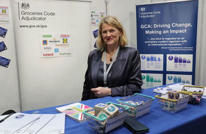 Christine Tacon at a GCA event stand