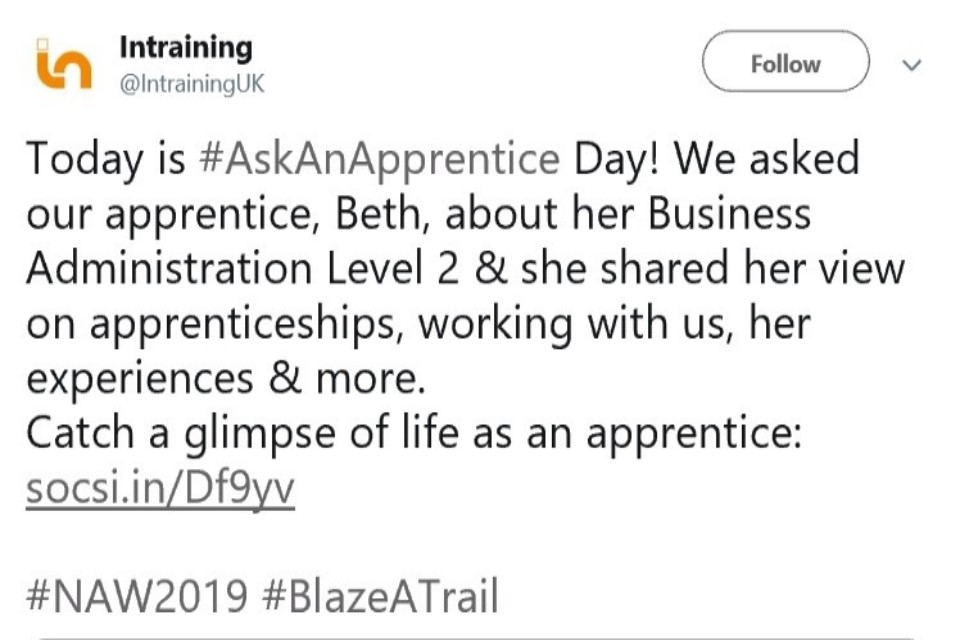 Image of a Tweet supporting the Aspire theme of 'Blaze a Trail'.
