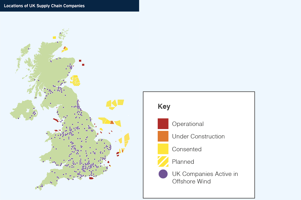 Map showing locations of UK Supply Chain Companies.