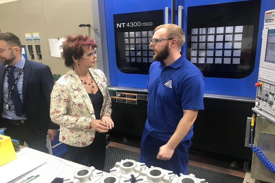 Image of Anne Milton on a visit as part of National Apprenticeship Week.