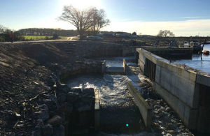 The multi-stage fish pass on the River Ouse at Linton Lock, near York, that enables salmon and other migratory fish to swim upstream to spawn in gravel bedded tributaries in the upper Ouse catchment