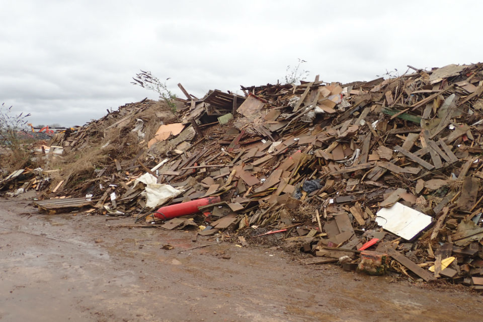 Pile of waste at an illegal site in Wellingborough