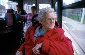Older woman on a bus