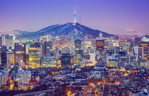 An image of the Seoul skyline in South Korea.