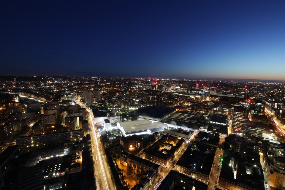 Aerial image of HS2 Euston works at night.