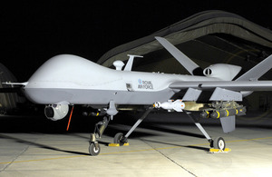 An RAF MQ-9 Reaper remotely-piloted aircraft from 39 Squadron in Afghanistan (stock image) [Picture: Senior Aircraftman Andrew Morris, Crown copyright 2008]