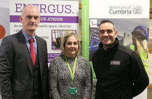 Sellafield Ltd's Andy Smith with Yula McCourt from the University of Cumbria and Paul Zanacchi from COMS