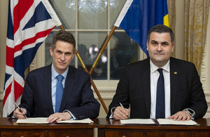 Defence Secretary Gavin Williamson and Romanian Defence Minister Gabriel Les sign a memorandum of understanding to enhance defence co-operation between the two countries.