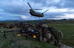 40 Commando Royal Marines during an aviation insertion by Chinook helicopters during Exercise Joint Warrior