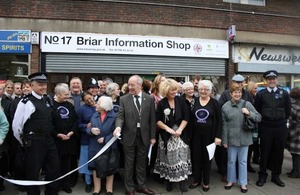 Baroness Newlove outside the community shop