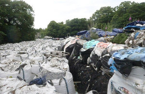 Waste stockpiled on site