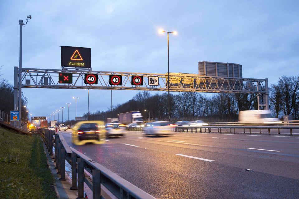 Smart motorway gantry showing Red X