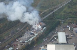 smouldering illegal waste site operated by Lee Averies