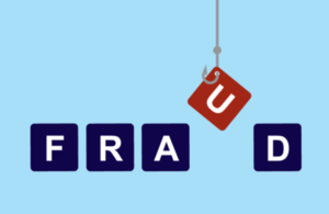 Image of a hook pulling the letter 'u' from the word fraud