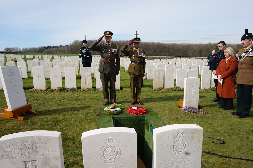 Colonel Des Bergin representing the Irish Embassy and Lieutenant Colonel Ret'd Dominic Hancock of the British Embassy lay wreaths at the graveside (taken at the Wednesday 20 March service