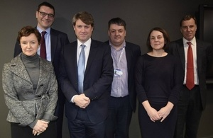 Photograph of SLC CEO, Paula Sussex and members of the Executive Leadership Team with Chris Skidmore, Minister of State for Universities, Science, Research and Innovation