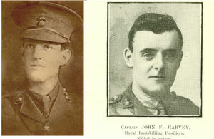 Lieutenant (Lt) Gilbert Donnelly (copyright Donnelly family) - Captain (Capt) John Forsythe Harvey (copyright The Royal Inniskilling Fusiliers Museum)