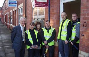 Andrew Stunell with construction workers