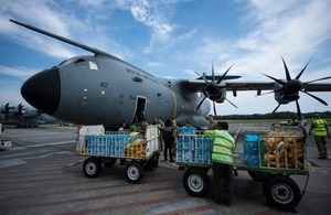 RAF UK aid flight to Mozambique
