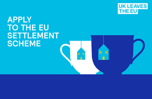 Promotional image of teacups for EU Settlement Scheme.