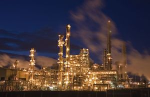 UK Oil Refinery illuminated at night