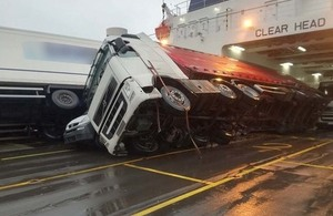 Toppled vehicles on board European Causeway