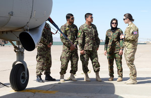 Flight Lieutenant Genevieve Rolleston-Smith mentors a group of Afghan Air Force recruits [Picture: Sergeant Barry Pope, Crown copyright 2013]