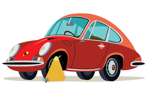 Cartoon image of a clamped Porsche