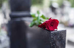 Red rose placed on a grave stone