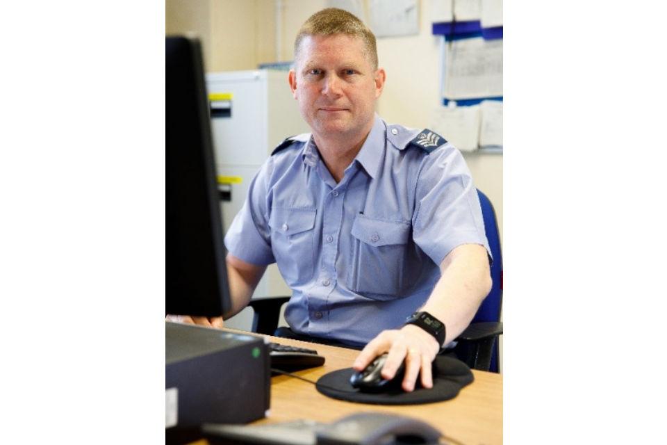 Flight Sergeant Farr, RAF Quality System Coordinator in Engineering. MOD Crown Copyright.
