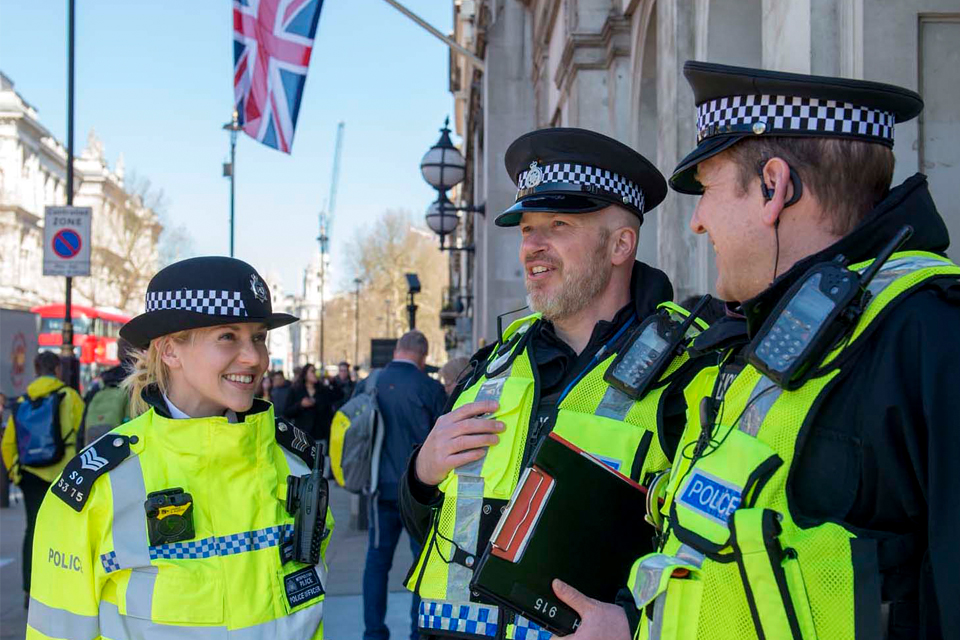 Three police officers working in Westminster.