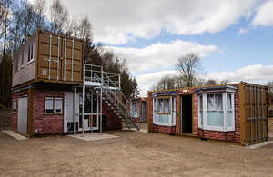 3 buildings at Whinny Hill training area constructed from purpose built interchangeable storage containers.