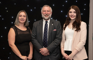 UKHO Chief Executive Rear Admiral Tim Lowe with UKHO apprentices Sophie Prescott and Melanie Crysell