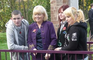 Baroness Newlove with young people